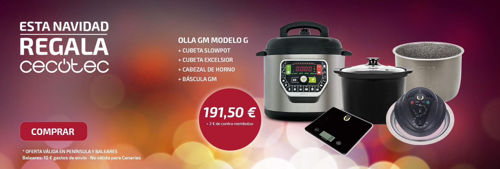 Promo Navidad olla GM modelo G + 2 cubeta Excelsior + cubeta Slowpot + Cabezal de horno + Báscula de cocina
