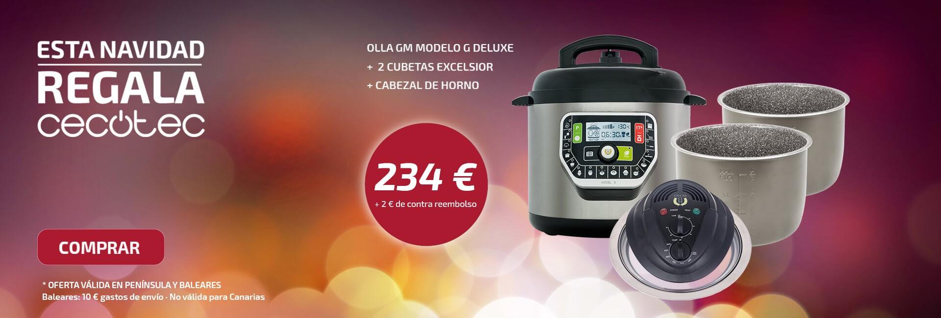 Promo Navidad olla GM modelo G Deluxe + 2 cubetas Excelsior + Cabezal de horno